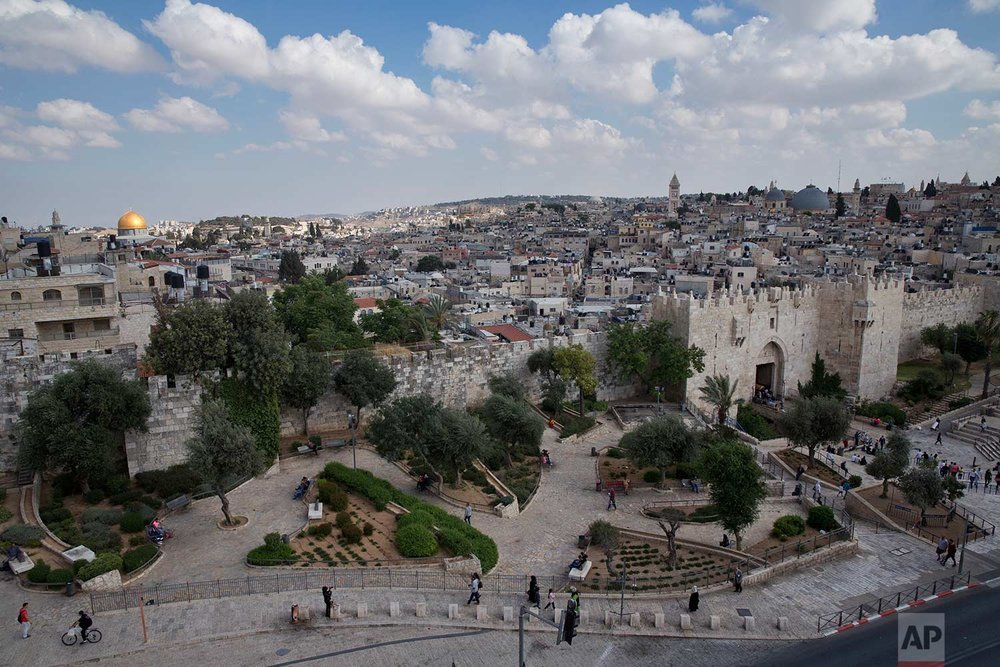 In this Saturday, May 20, 2017 photo, a view of Jerusalem Old City and Damascus Gate, Saturday, May. 20, 2017. (AP Photo/Oded Balilty)
