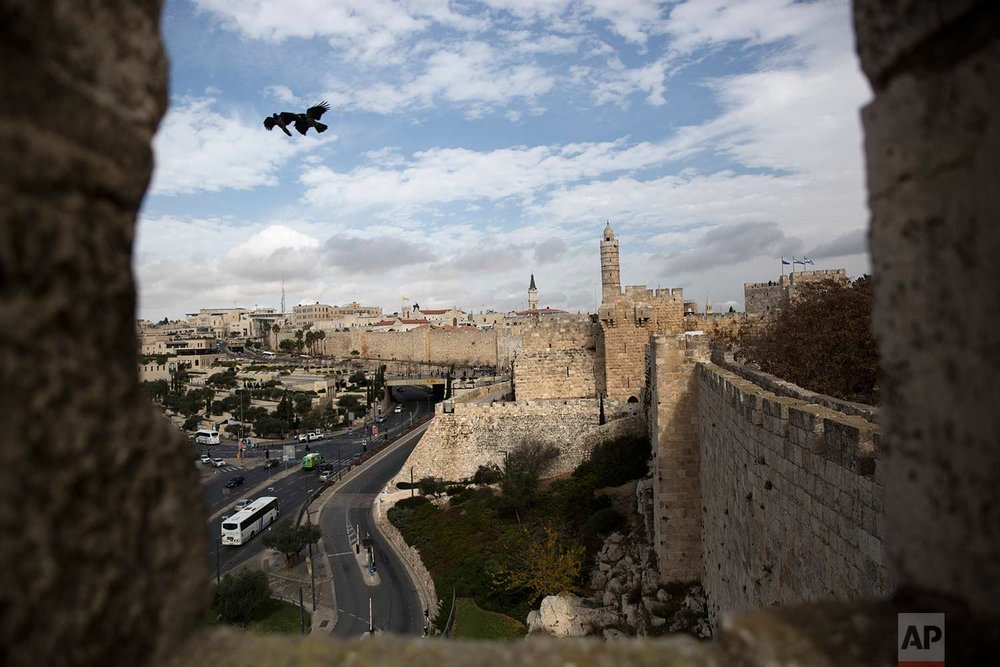 In this Sunday, Dec. 24, 2017 photo, a view of Jerusalem Old City seen from the Jerusalem Ramparts Walk. (AP Photo/Oded Balilty)
