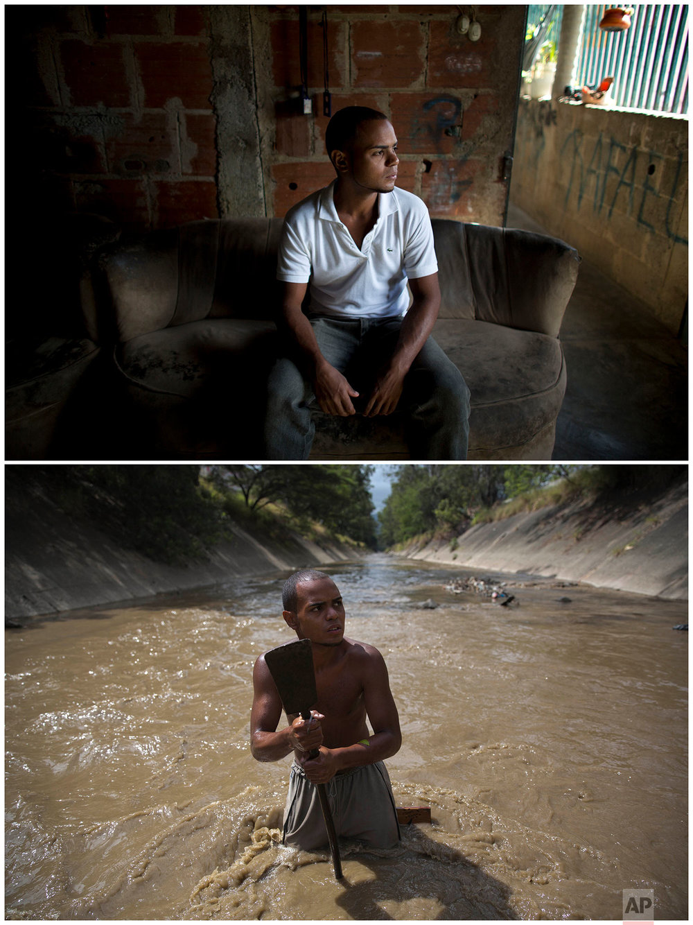 This combo of two photographs shows Angel Villanueva in his living room on Dec. 9 2017, top, and him standing in the Guaire River where he uses a metal bar to break up the bottom of the polluted waterway that runs through Caracas, Venezuela. The 25-year-old who lives with his father first turned to the river about six months ago when he lost his job at a home appliance store. When he took home finds worth $20 the first day, he was hooked, even though his family half-jokingly tell him he smells bad at the end of the day. (AP Photo/Ariana Cubillos)