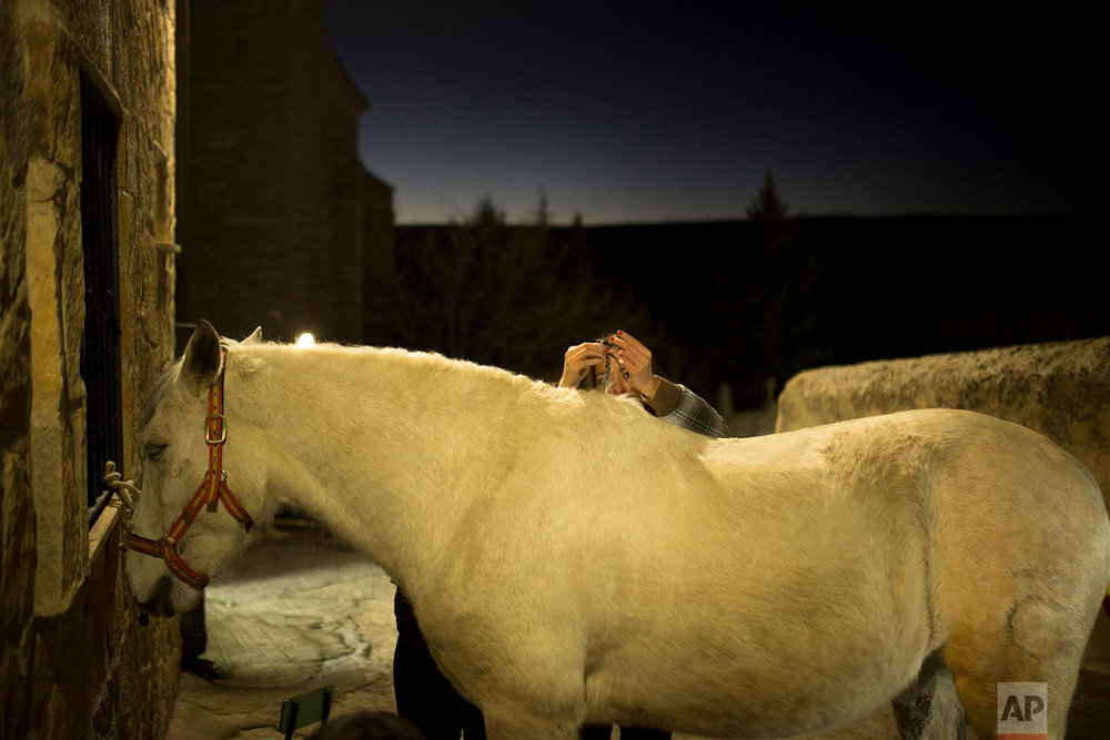 A woman braids the hair of a horse before the ritual in honor of Saint Anthony the Abbot, the patron saint of animals, in San Bartolome de Pinares, Spain, Tuesday, Jan. 16, 2018. (AP Photo/Francisco Seco) | See these photos on AP Images
