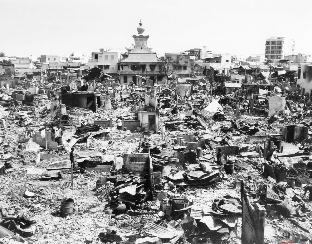 A large section of rubble is all that remains in this one block square area of Saigon on Feb. 5, 1968, after fierce Tet Offensive fighting. Rockets and grenades, combined with fires, laid waste to the area. An Quang Pagoda, location of Viet Cong headquarters during the fighting, is at the top of the photo. (AP Photo)