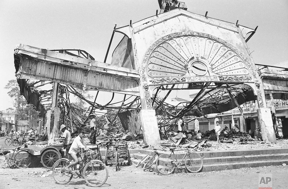 Most of the provincial Delta capital of Ben Tre, Vietnam, is in the ruins and an estimated 1,000 civilians were killed in the fighting, Feb. 7, 1968. This was the central market hall of Ben Tre. (AP Photo/Peter Arnett)