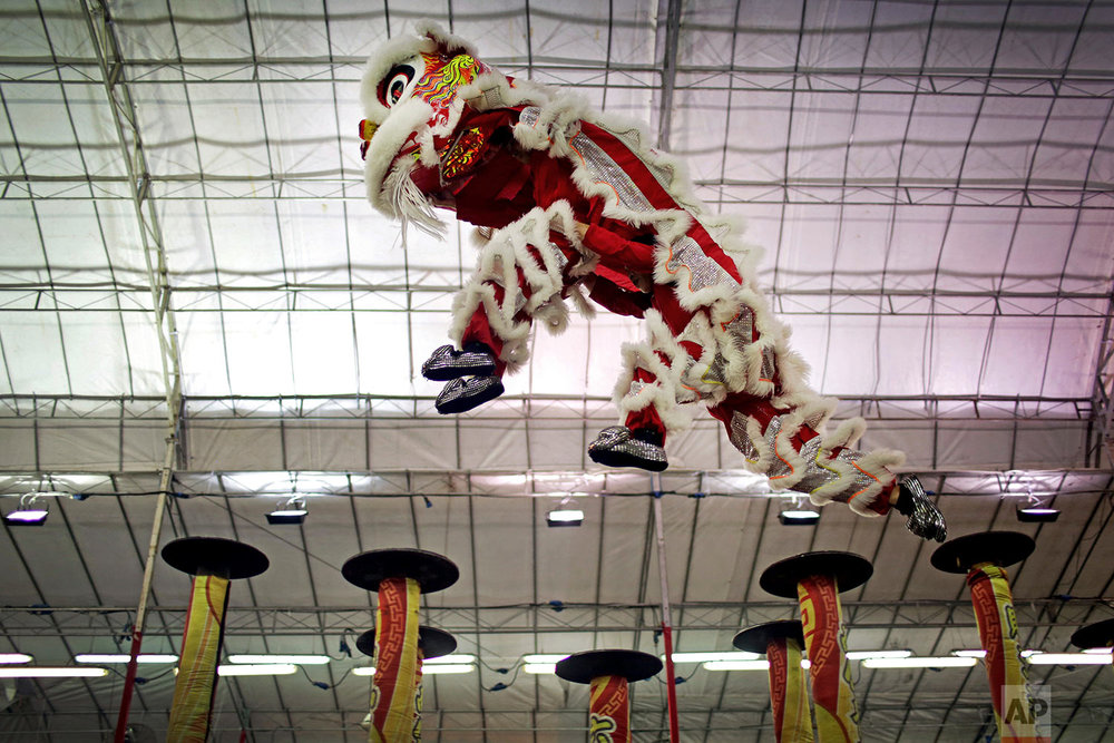 In this Friday, Feb. 2, 2018, photo, the lion dance troop from Malaysia competes in the 11th International Lion Dance Competition in Singapore. (AP Photo/Wong Maye-E)