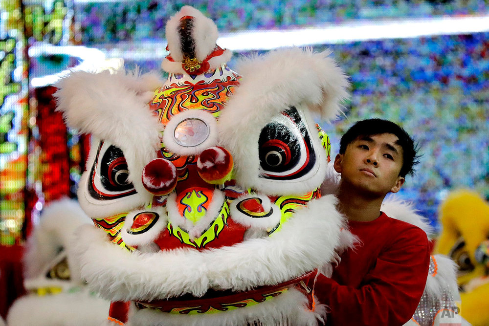 In this Friday, Feb. 2, 2018, photo, a member of a lion dance troop from Hong Kong waits to compete in the 11th International Lion Dance Competition in Singapore. (AP Photo/Wong Maye-E)