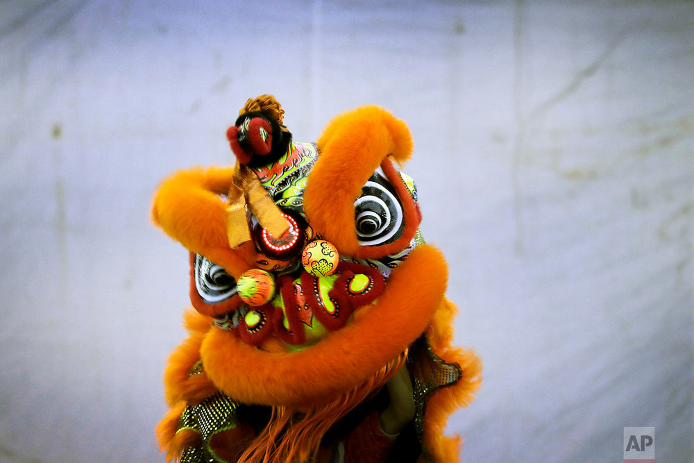 In this Friday, Feb. 2, 2018, photo, members of a lion dance troop from Singapore compete in the 11th International Lion Dance Competition in Singapore. (AP Photo/Wong Maye-E)