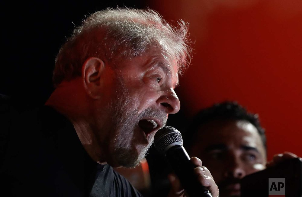 Former Brazilian President Luiz Inacio Lula da Silva speaks during a rally with his supporters in Sao Paulo, Brazil, Wednesday, Jan. 24, 2018.  (AP Photo/Andre Penner)