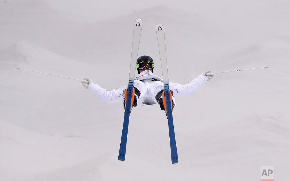 Walter Wallberg, of Sweden, trains ahead of the 2018 Winter Olympics in Pyeongchang, South Korea, Wednesday, Feb. 7, 2018. (AP Photo/Gregory Bull)