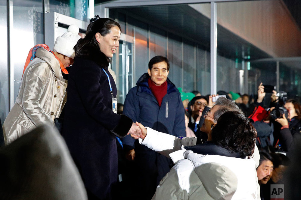 Kim Yo Jong, left, sister of North Korean leader Kim Jong Un, shakes hands with South Korean President Moon Jae-in at the opening ceremony of the 2018 Winter Olympics in Pyeongchang, South Korea, Friday, Feb. 9, 2018. (AP Photo/Patrick Semansky, Pool)