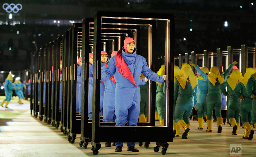 Performers participate during the opening ceremony of the 2018 Winter Olympics in Pyeongchang, South Korea, Friday, Feb. 9, 2018. (AP Photo/Petr David Josek)