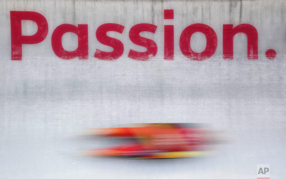 Natalie Geisenberger of Germany takes a training run at the 2018 Winter Olympics in Pyeongchang, South Korea, Saturday, Feb. 10, 2018. (AP Photo/Patrick Semansky)