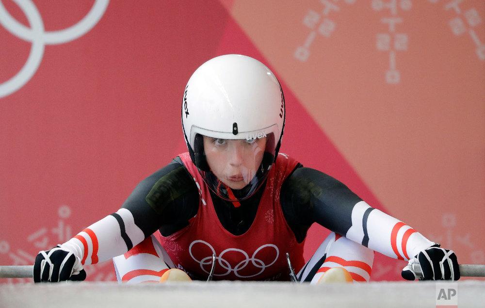 Hannah Prock of Austria starts her training run at the 2018 Winter Olympics in Pyeongchang, South Korea, Saturday, Feb. 10, 2018. (AP Photo/Wong Maye-E)