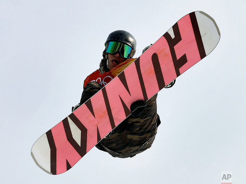 MansHedberg, of Sweden, jumps during the men's slopestyle qualifying at Phoenix Snow Park at the 2018 Winter Olympics in Pyeongchang, South Korea, Saturday, Feb. 10, 2018. (AP Photo/Gregory Bull)