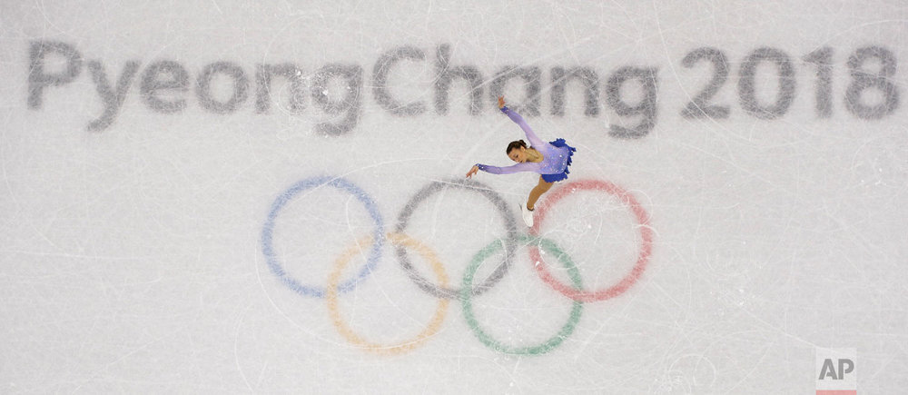Nicole Schott, of Germany, performs in the ladies single figure skating short program in the Gangneung Ice Arena at the 2018 Winter Olympics in Gangneung, South Korea, Sunday, Feb. 11, 2018. (AP Photo/Morry Gash)