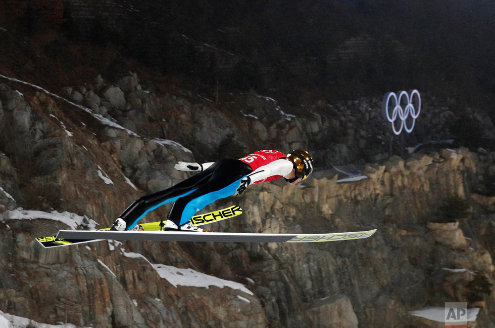 Vinzenz Geiger of Germany soars during a training session for the men's nordic combined competition at the Alpensia Ski Jumping Center during the 2018 Winter Olympics in Pyeongchang, South Korea, Sunday, Feb. 11, 2018. (AP Photo/Patrick Semansky)