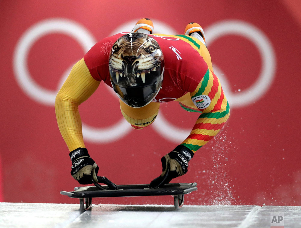 Akwasi Frimpong, of Ghana, starts his practice run during the men's skeleton training at the 2018 Winter Olympics in Pyeongchang, South Korea, Wednesday, Feb. 14, 2018. (AP Photo/Wong Maye-E)