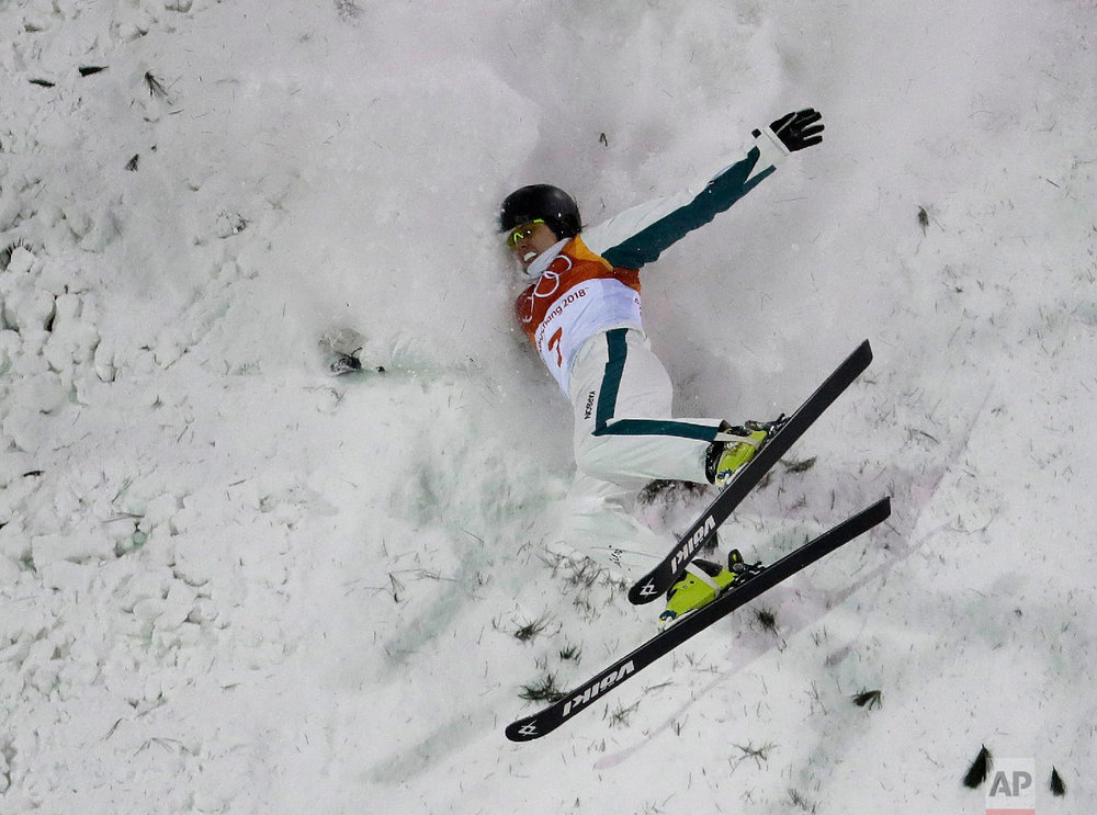 Laura Peel, of Australia, crashes during the women's freestyle aerial final at Phoenix Snow Park at the 2018 Winter Olympics in Pyeongchang, South Korea, Friday, Feb. 16, 2018. (AP Photo/Lee Jin-man)