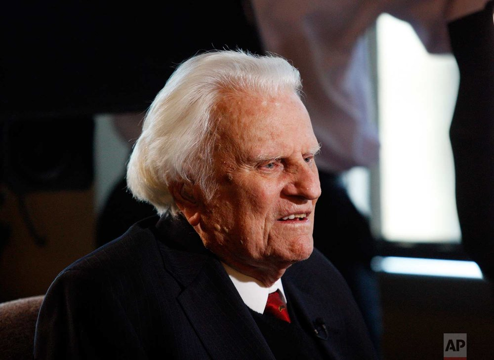 Evangelist Billy Graham, 92, is interviewed at the Billy Graham Evangelistic Association headquarters in Charlotte, N.C., on Monday, Dec. 20, 2010. (AP Photo/Nell Redmond)