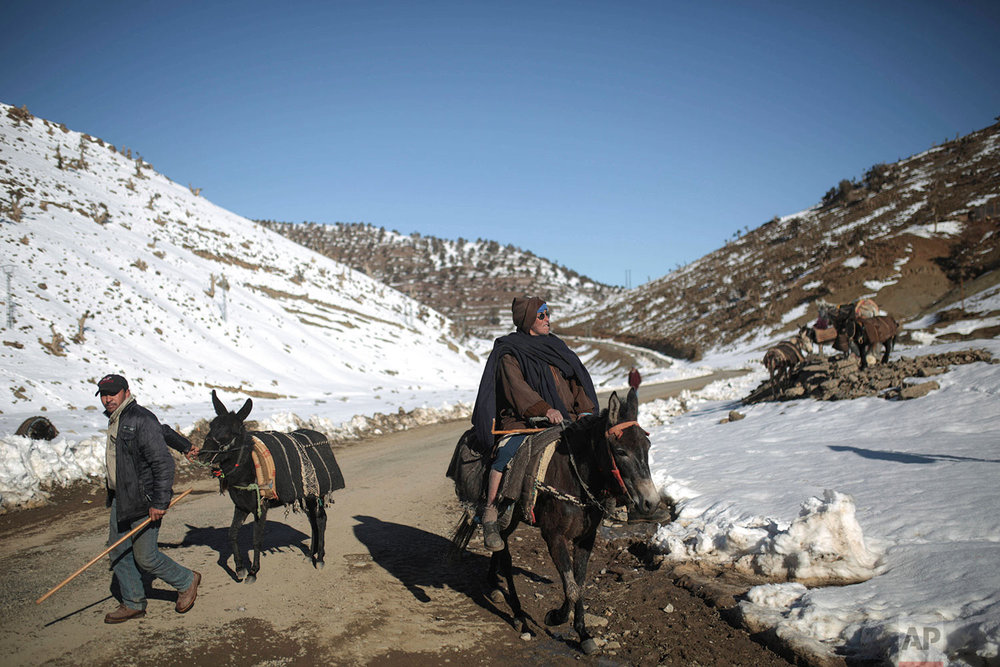 In this Thursday, Feb. 15, 2018 photo, Berber villagers ride their donkeys through snow covered mountains in Tighanmin, a Middle Atlas village near Azilal, central Morocco. (AP Photo/Mosa'ab Elshamy)