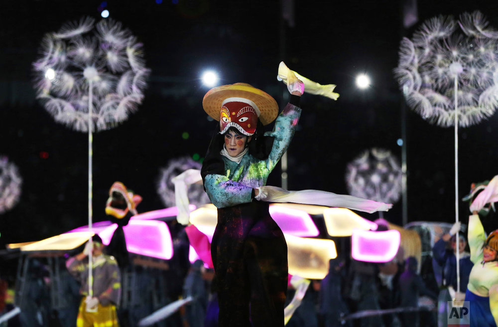 Performers participate in the closing ceremony of the 2018 Winter Olympics in Pyeongchang, South Korea, Sunday, Feb. 25, 2018. (AP Photo/Natacha Pisarenko)