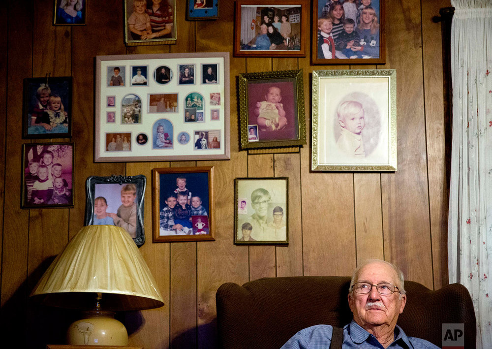 "Clinton Adams, believed to be the only living witness to the 1946 lynching of two black couples by a white mob, sits in his home in Winder, Ga., Thursday, Feb. 22, 2018. Adams came forward in 1991 claiming he saw the lynching unfold when he was a 10-year-old while hiding in the bushes near the bridge. ""I never expected them to catch anyone. They're all dead,"" Adams said of Georgia's top law enforcement agency closing its latest investigation last month, shortly after the FBI concluded its latest review without solving the case. ""I just want it to be over and live my life,"" said Adams who feared for his safety from the KKK. (AP Photo/David Goldman)"