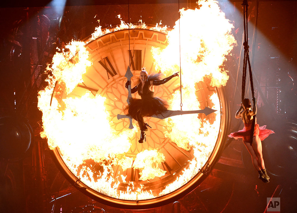 "Pink performs ""Just Like Fire"" at the Billboard Music Awards at the T-Mobile Arena on Sunday, May 22, 2016, in Las Vegas. (Photo by Chris Pizzello/Invision/AP)"