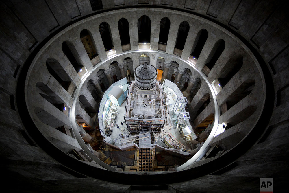 In this Saturday, Oct. 8, 2016 photo, a general view of the renovation of the Tomb of Jesus in the Church of the Holy Sepulchre in Jerusalem's Old City. (AP Photo/Oded Balilty)
