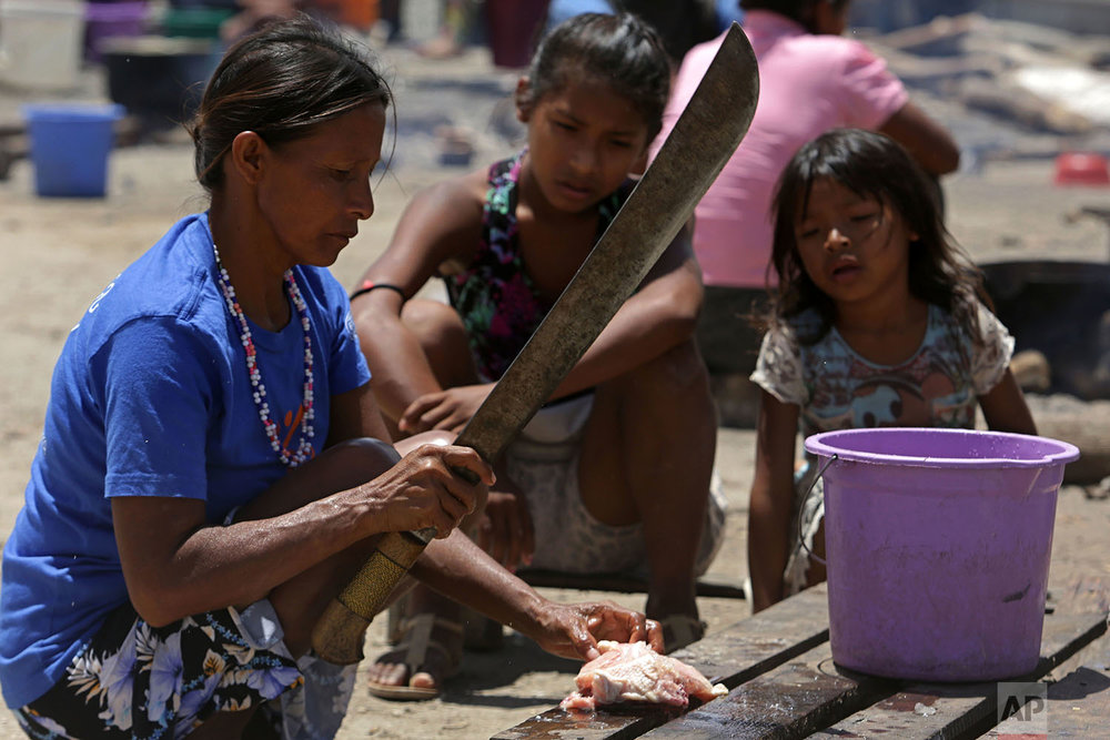 In this March 10, 2018 photo, a Venezuelan Warao woman quarters a chicken to cook over a fire in an outdoor kitchen area at a shelter, in Pacaraima, Brazil. (AP Photo/Eraldo Peres)