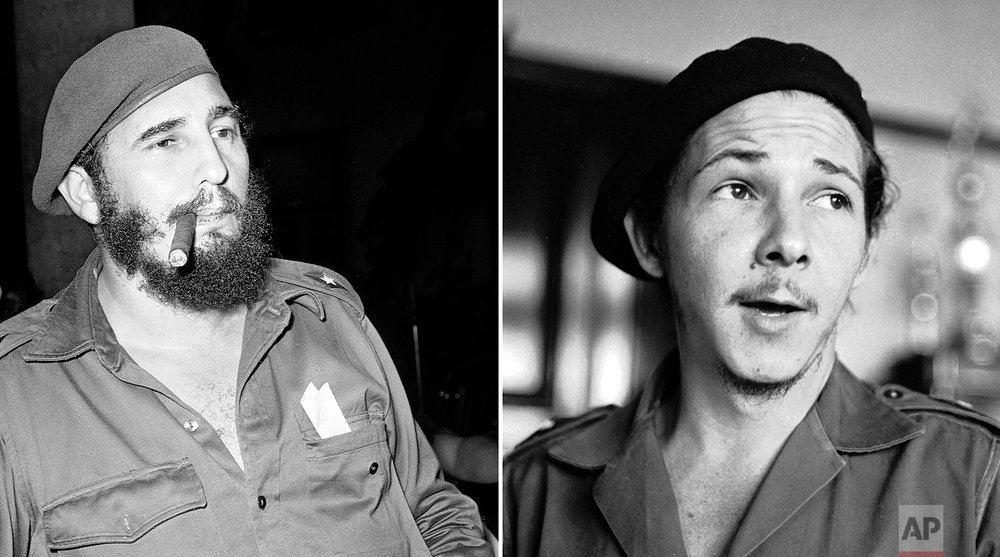 This combination of photos shows Fidel Castro smoking a cigar in Havana on April 29, 1961, left, and his brother Raul Castro, right, in an undisclosed location in Cuba in 1959. At age 32, Fidel became the youngest leader in Latin America and put his younger brother Raul in charge of the armed forces. (AP Photos)