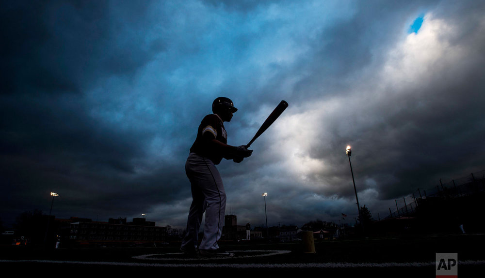 Steel Valley's Terevon Harris stands on deck on Wednesday, April 25, 2018, during the game against Valley at West Field in Munhall, a suburb of Pittsburgh. (Steph Chambers/Pittsburgh Post-Gazette via AP)