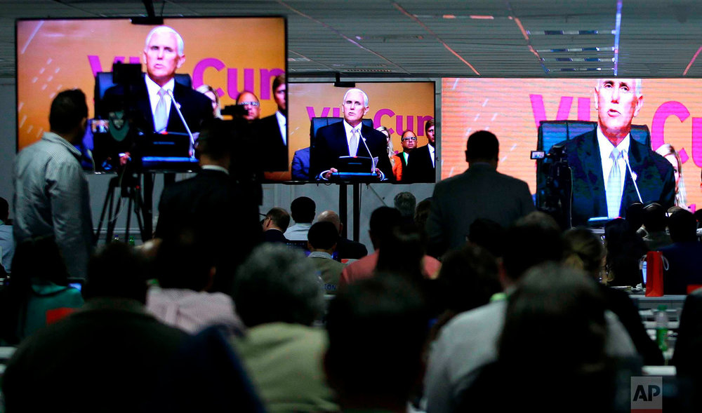 "U.S. Vice President Mike Pence speaks during the plenary session at the Americas Summit in Lima, Peru, April 14, 2018. Pence praised Peru's ""strong stand"" on the ""tyranny and humanitarian crisis"" in Venezuela, and said that he was grateful for Peruvian President Mart�n Vizcarra's role in withdrawing Venezuelan President Nicolas Maduro's invitation to the summit. (AP Photo/Martin Mejia)"
