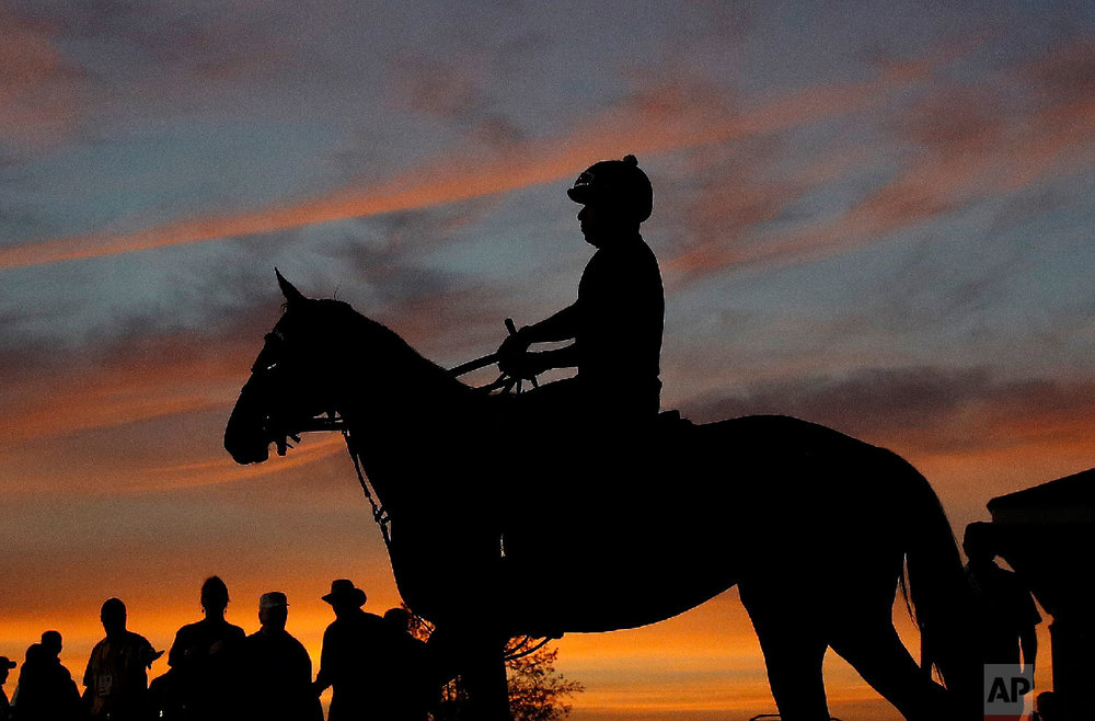 A horse and rider are silhouetted against a pre-dawn sky as they head for the track for a morning workout at Churchill Downs Wednesday, May 2, 2018, in Louisville, Ky. The 144th running of the Kentucky Derby is scheduled for Saturday, May 5. (AP Photo/Charlie Riedel)