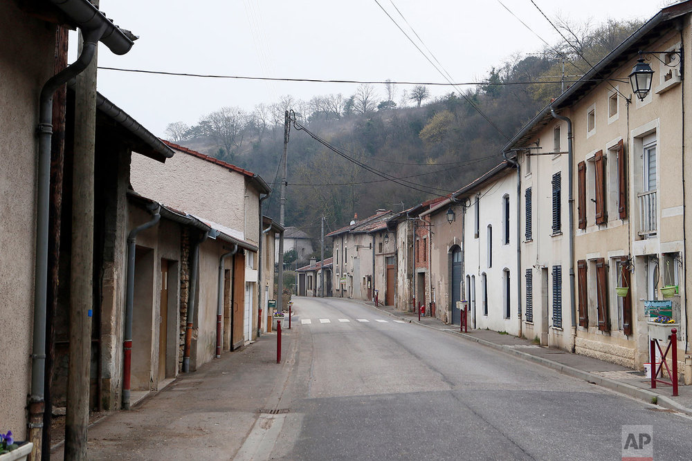 This photo dated March. 26, 2018 shows the main street in Bouillonville, eastern France. (AP Photo/Laurent Rebours)