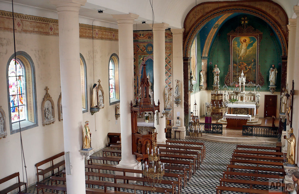 This photo dated March 25, 2018, shows an inside view of a church in Neuvilly-en-Argonne, eastern France. (AP Photo/Laurent Rebours)