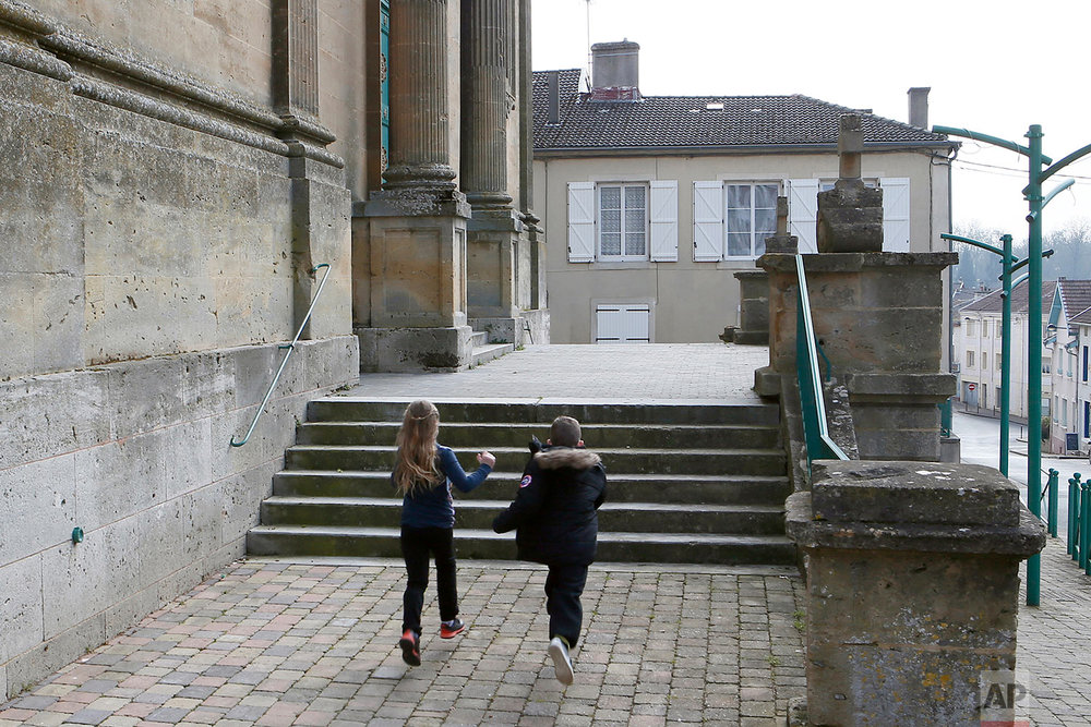 This photo dated Feb. 25, 2018 shows the church steps in Stenay, Meuse region, eastern France. (AP Photo/Laurent Rebours)
