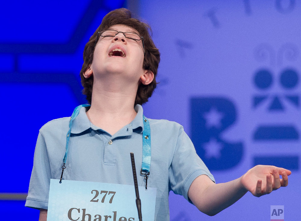 Charles Millard, 13, from Frederick, Md., misspells his word during the second round of the Scripps National Spelling Bee in Oxon Hill, Md., Tuesday, May 29, 2018. (AP Photo/Cliff Owen)
