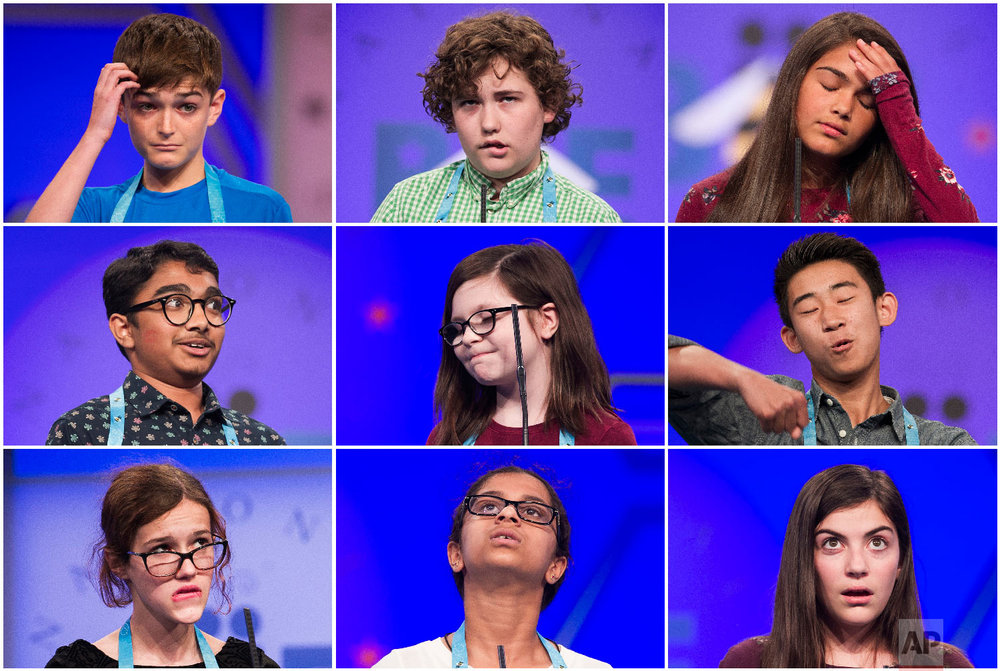 In this combination of photos, students compete in the Scripps National Spelling Bee in Oxon Hill, Md., on May 29-30, 2018. The contestants are, top row, from left: Isaac Phillips, from Ponchatoula, La., Brody Dicks, from Park City, Utah, and Natalia Lutz, from Huntington Station, N.Y.; middle row, from left: Shiva Yeshlur, from Rock Springs, Wyo., Sophia Clark, from White Marsh, Md., and Nicholas Lee, from Rancho Cucamonga, Calif.; bottom row, from left: Eleanor Tallman, Shria Halkoda, from Wadsworth, Ill., and Isabel Messina, from Annapolis, Md. (AP Photo/Cliff Owen)
