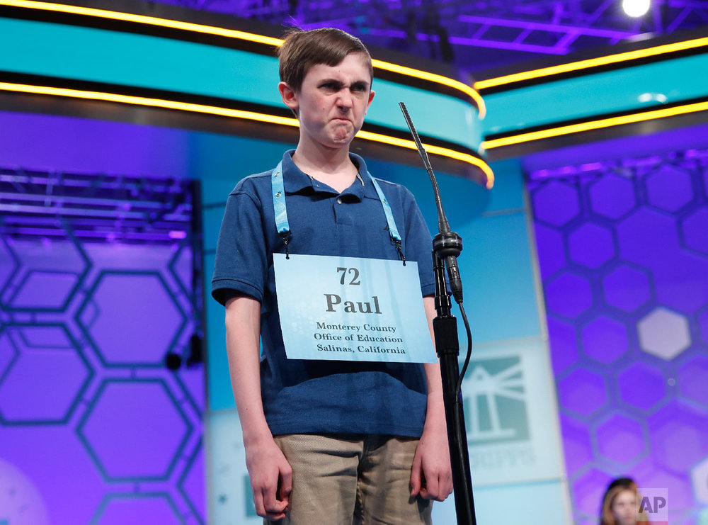 Paul Hamrick, 14, from Monterey, Calif., pauses as he spells a word correctly during the final round of the Scripps National Spelling Bee in Oxon Hill, Md., Thursday, May 31, 2018. (AP Photo/Carolyn Kaster)