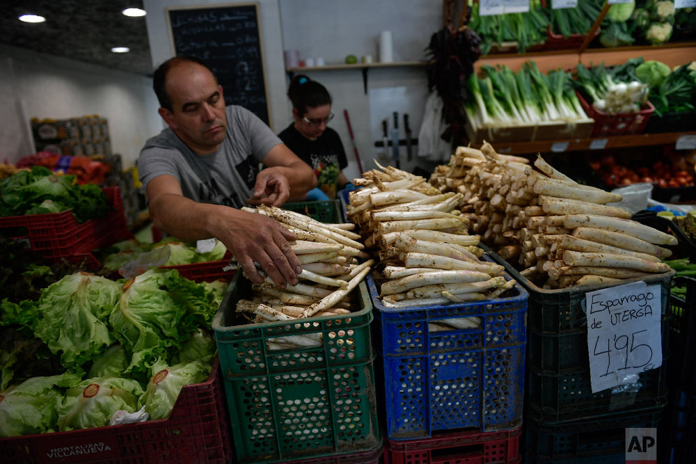 A trader organises white asparagus for customers at his store in Pamplona, northern Spain on Friday, June 1, 2018. (AP Photo/Alvaro Barrientos)