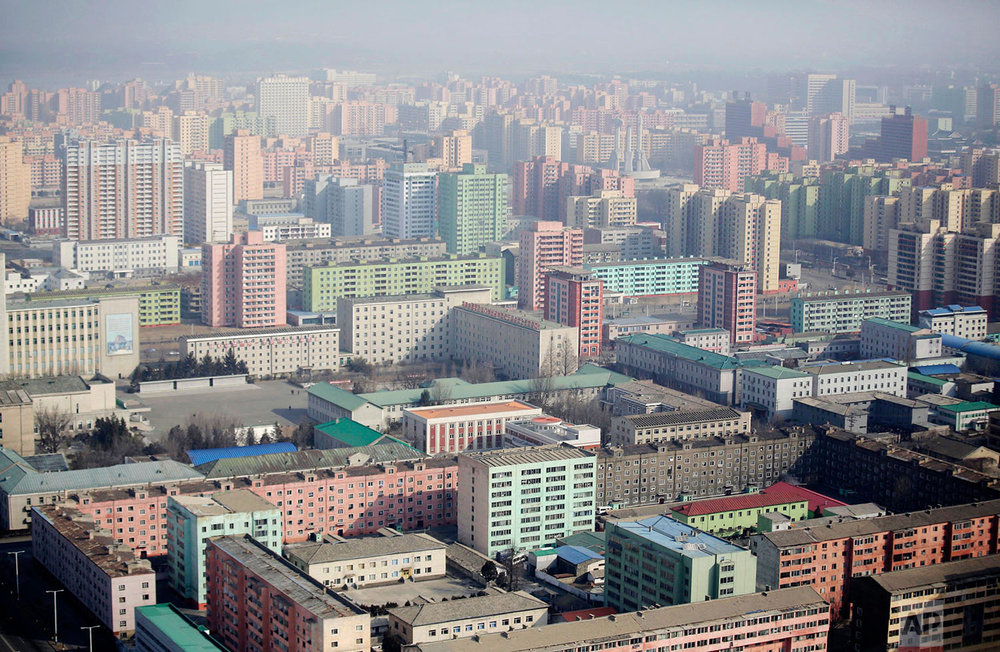 Colorful residential buildings fill the skyline of Pyongyang, North Korea, in the morning light, as seen from the top of the Juche Tower on Feb. 13, 2017. (AP Photo/Wong Maye-E)