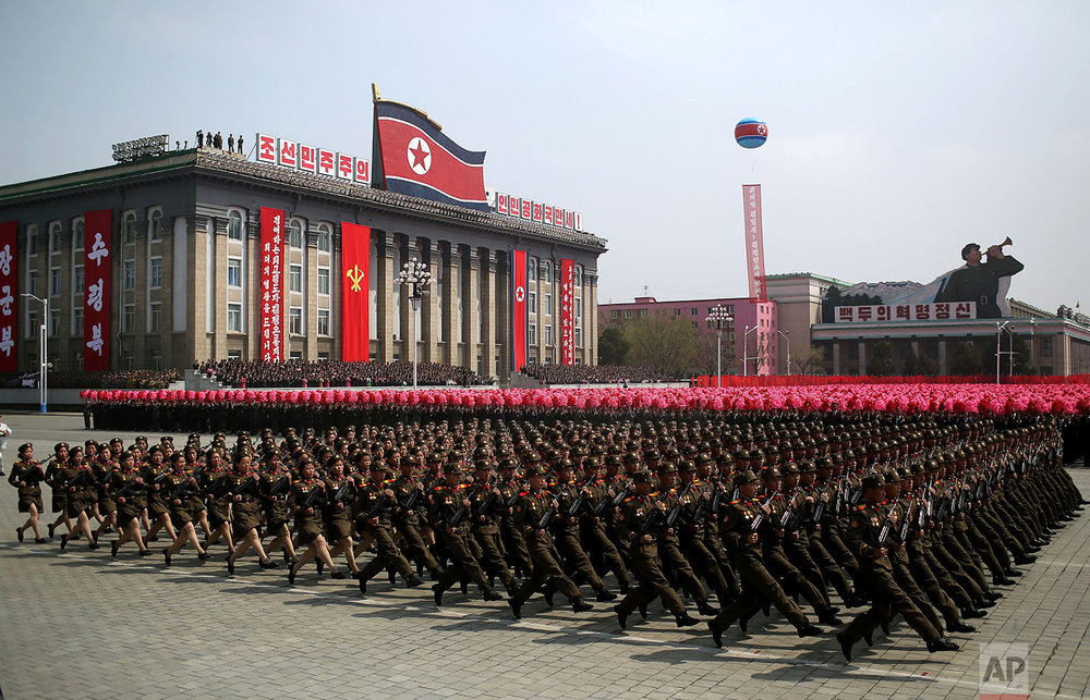 Soldiers march across Kim Il Sung Square during a military parade in Pyongyang, North Korea, on April 15, 2017. (AP Photo/Wong Maye-E)