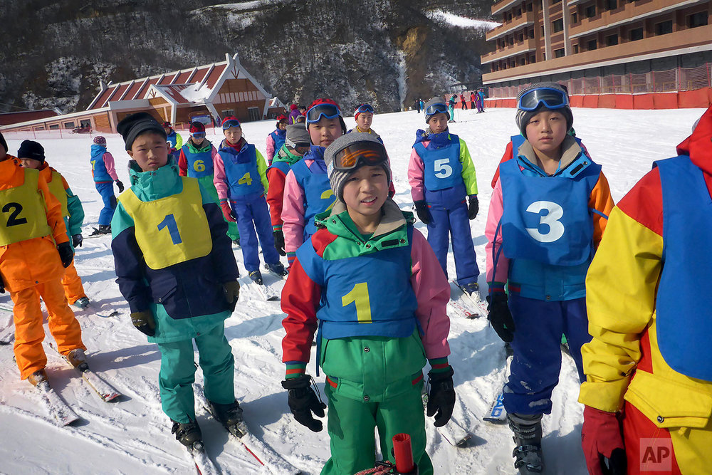 Children attend a ski class at the Masik Pass Ski Resort in Wonsan, North Korea, on Feb. 20, 2016. (AP Photo/Wong Maye-E)