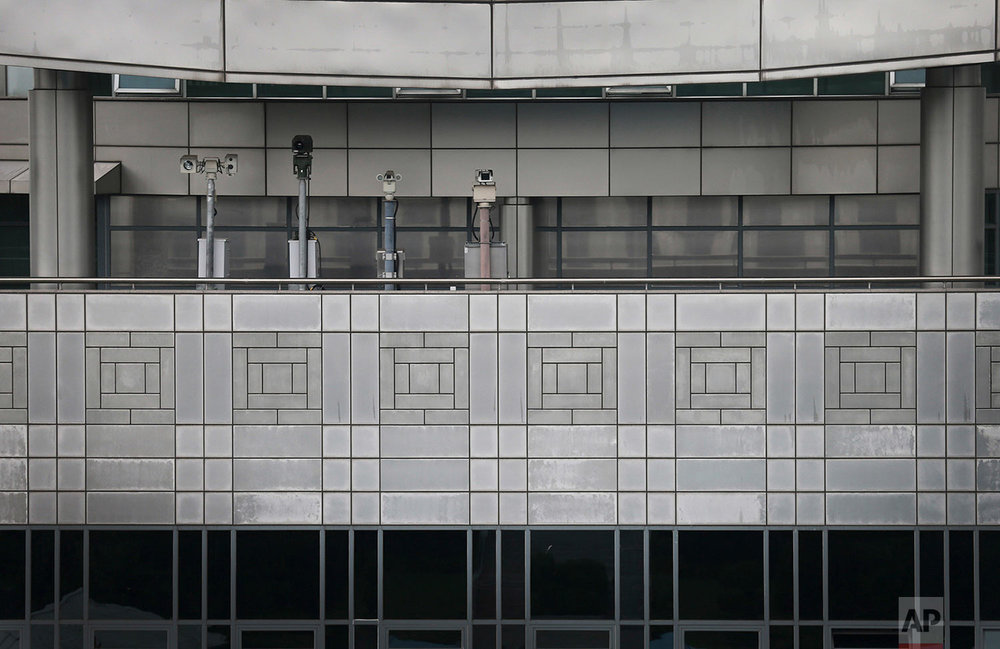 Surveillance cameras on the South Korean side of the Demilitarized Zone face the truce village of Panmunjom, Korea, on July 22, 2013. (AP Photo/Wong Maye-E)