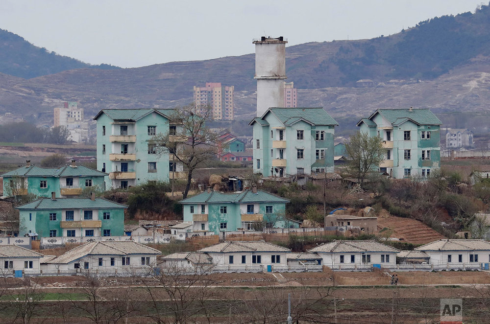 The North Korean village of Gijungdong is seen during a press tour from the Taesungdong freedom village inside the Demilitarized Zone between North and South Korea in Paju, South Korea, on April 24, 2018. (AP Photo/Lee Jin-man)