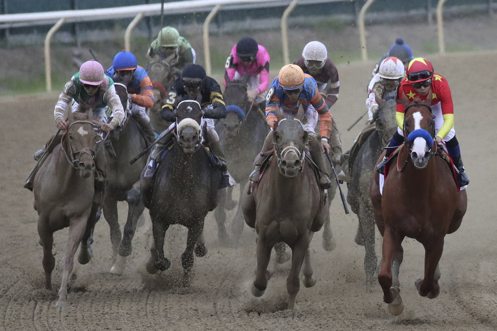 Justify, right, with jockey Mike Smith, leads the pack in the final turn in the 1 1/2 mile Belmont Stakes horse race Saturday, June 9, 2018, at Belmont Park in Elmont, N.Y. Justify won the race and the Triple Crown. (AP Photo/Mary Altaffer)