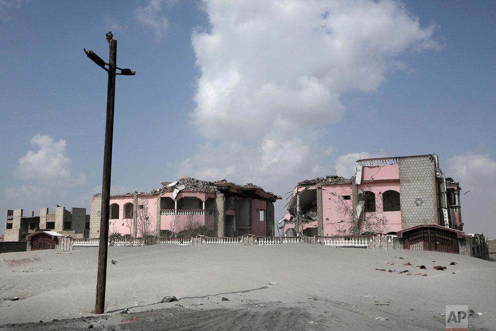 Damaged property due to the war in Abyan, Yemen.(AP Photo/Nariman El-Mofty)