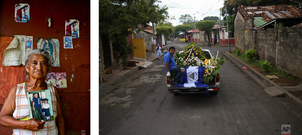 LEFT: Guadalupe Ruiz holds a photo of her artist son Donald Lopez who was arrested and shot by the national police during an anti-government protest, in Masaya, Nicaragua, June 6, 2018. RIGHT: The remains of Manuel de Jesus Chavez are driven to the cemetery in Leon, Nicaragua, May 25, 2018, after the 38-year-old was killed during clashes with police when anti-government protesters blocked the Panamerican Highway. (AP Photo/Esteban Felix)