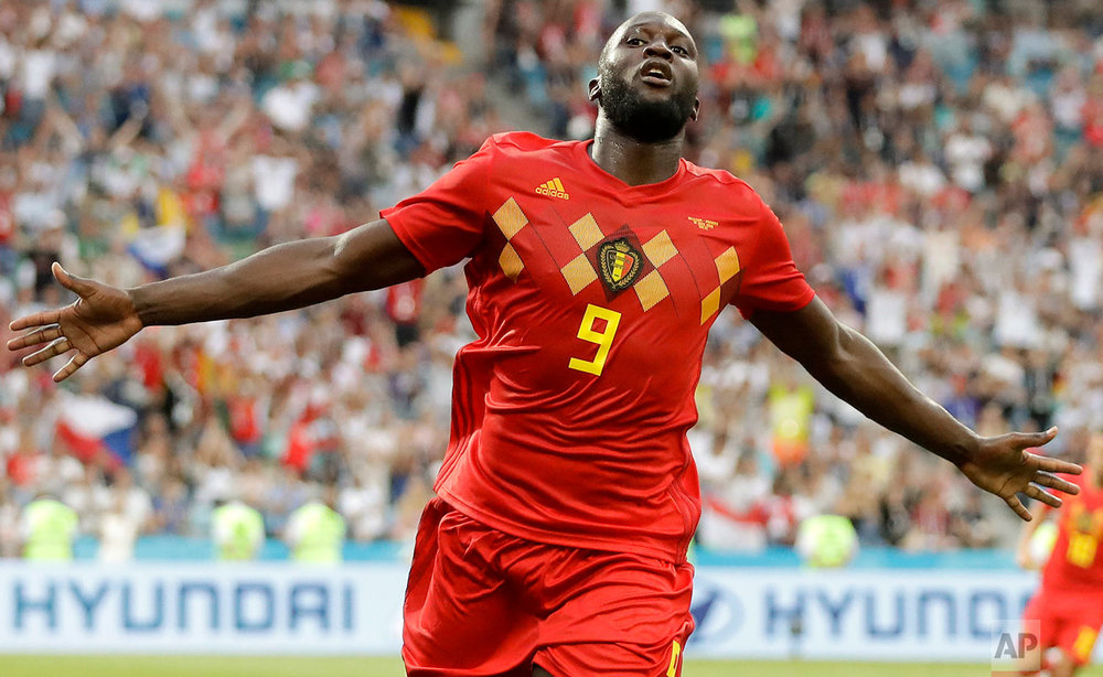 Belgium's Romelu Lukaku celebrates after he scored his side's third goal during the group G match between Belgium and Panama at the 2018 soccer World Cup in the Fisht Stadium in Sochi, Russia, Monday, June 18, 2018. (AP Photo/Matthias Schrader)