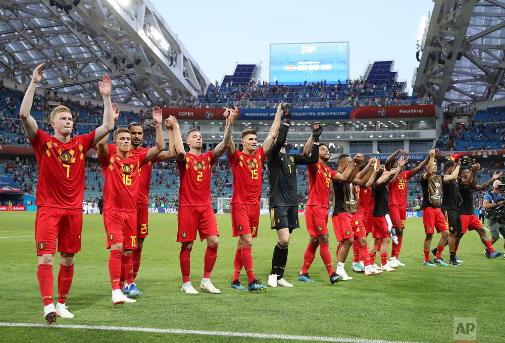 Belgium's team celebrates after winning the group G match between Belgium and Panama at the 2018 soccer World Cup in the Fisht Stadium in Sochi, Russia, Monday, June 18, 2018. Belgium won 3-0. (AP Photo/Matthias Schrader)
