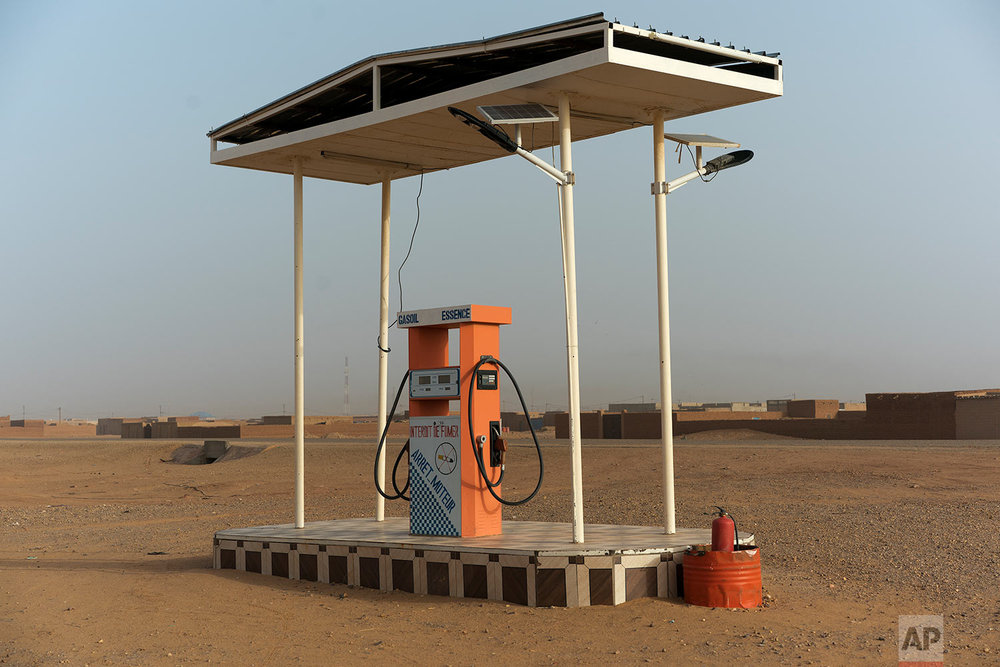 A gas pump stands in Arlit, the last major settlement in Niger's Tenere desert region of the south central Sahara on May 31, 2018. (AP Photo/Jerome Delay)