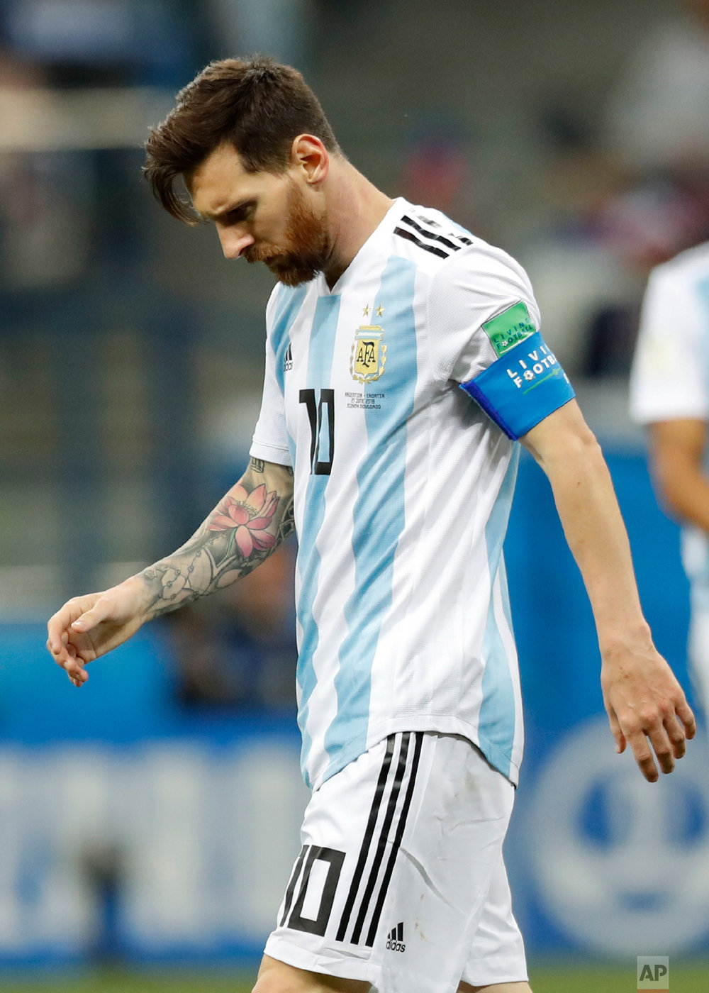 Argentina's Lionel Messi looks down after Croatia's Luka Modric scored his side's second goal during the group D match between Argentina and Croatia at the 2018 soccer World Cup in Nizhny Novgorod Stadium in Novgorod, Russia, Thursday, June 21, 2018. (AP Photo/Pavel Golovkin)